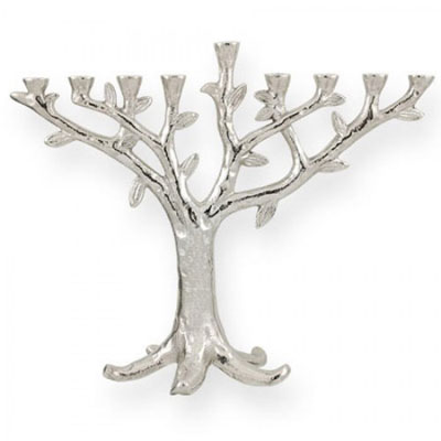 Pewter-Chrome Menorahs