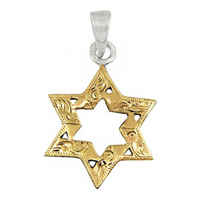 Gold Star of David Pendants