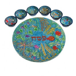 The Seven Species Seder Plate and Six Small Bowls
