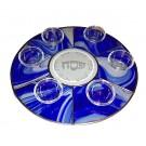 Blue Baroque Circular Seder Plate