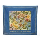 Challah Cover Songbirds Blue Hebrew
