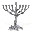 Art Deco Rustic Pewter Plated Tree Menorah