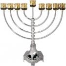 "Classic Jerusalem Oil Menorah Gold & Silverplate 11"""