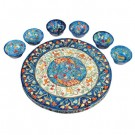 Peacocks Seder Plate and Six Small Bowls