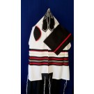 White Wool Tallit with Red and Black Stripe