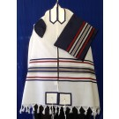 White and Navy Multi Color Wool Tallit