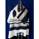 Wool Tallit with Blue and Silver