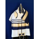 Wool Tallit with Blue and gold
