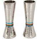 Emanuel Conical Shaped Hammered Candlesticks Multicolor