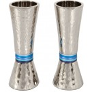 Emanuel Conical Shaped Hammered Candlesticks Blues