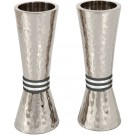 Emanuel Conical Shaped Hammered Candlesticks Black Rings
