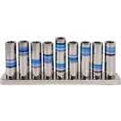 Emanuel Hammered Chanukah Menorah Blue Rings
