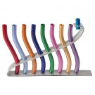 Yair Emanuel Hanukkah Menorah Anodize Sticks Multicolor