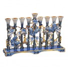 Elegant Menorah with Enamel and Crystal Accents 691