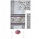 The Matriarchs  Raw Silk Appliqued White Tallit Set