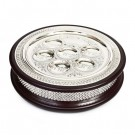Large Wood & Silver Plate 2 in 1 Seder Plate