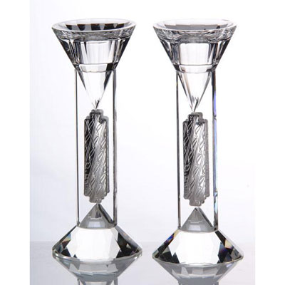 Crystal and Silver Candlesticks
