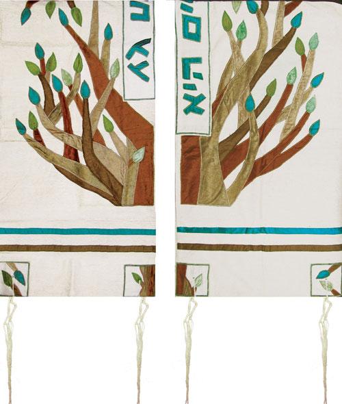 Raw Silk Appliqued Tallitot By Yair Emanuel
