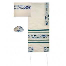 Embroidered Raw Silk Tallit –Star of David - Blue
