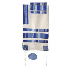 Blue Raw Silk Applique'd Tallit Set