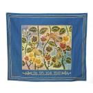 Challah Cover Songbirds Blue Hebrew