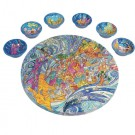 The Exodus from Egypt Seder Plate and Six Small Bowls