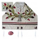 Tree Of Life White Raw Silk Appliqued Tallit Set