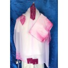 White and Fuchsia Chiffon Tallit