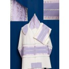 White Cotton Tallit with Lavender Stripe