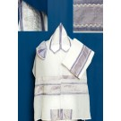 White Chiffon Tallit with Lavender and Purple Silk Stripe.