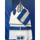 White Wool Tallit with Blue and Silver