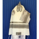 White Wool Tallit Silver and Grey