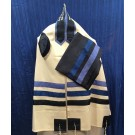 White Wool Tallit with Blue Stripes