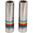 Emanuel Cylinder Shaped Hammered Candlesticks- Multicolor