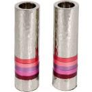 Emanuel Cylinder Shaped Hammered Candlesticks- Reds