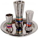 Emanuel Hammered Havdallah Set Conical Shape- Multicolor Rings