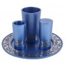 Emanuel Anodized Havdallah Set w/ Metal Cutout Blue