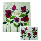 Raw Silk Matzah Cover Roses White