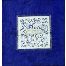 Embroidered Matzah Cover Pomegranates White on Blue