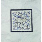 Embroidered Matzah Cover Pomegranates Blue on White