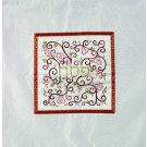 Embroidered Matzah Cover Pomegranates Red on White