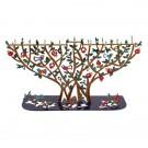 Hanukkah Menorah T-lights Laser Cut Pomegranate Tree