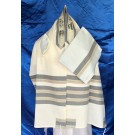 White Wool Tallit with Grey And Taupe