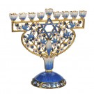 Elegant Menorah with Enamel and Crystal Accents 690