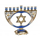 Elegant Menorah with Enamel and Crystal Accents 692