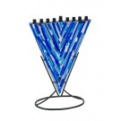 Artistic Glass Fused Menorah with Metal Base 750