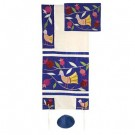 Birds Blue Raw Silk Appliqued Tallit Set